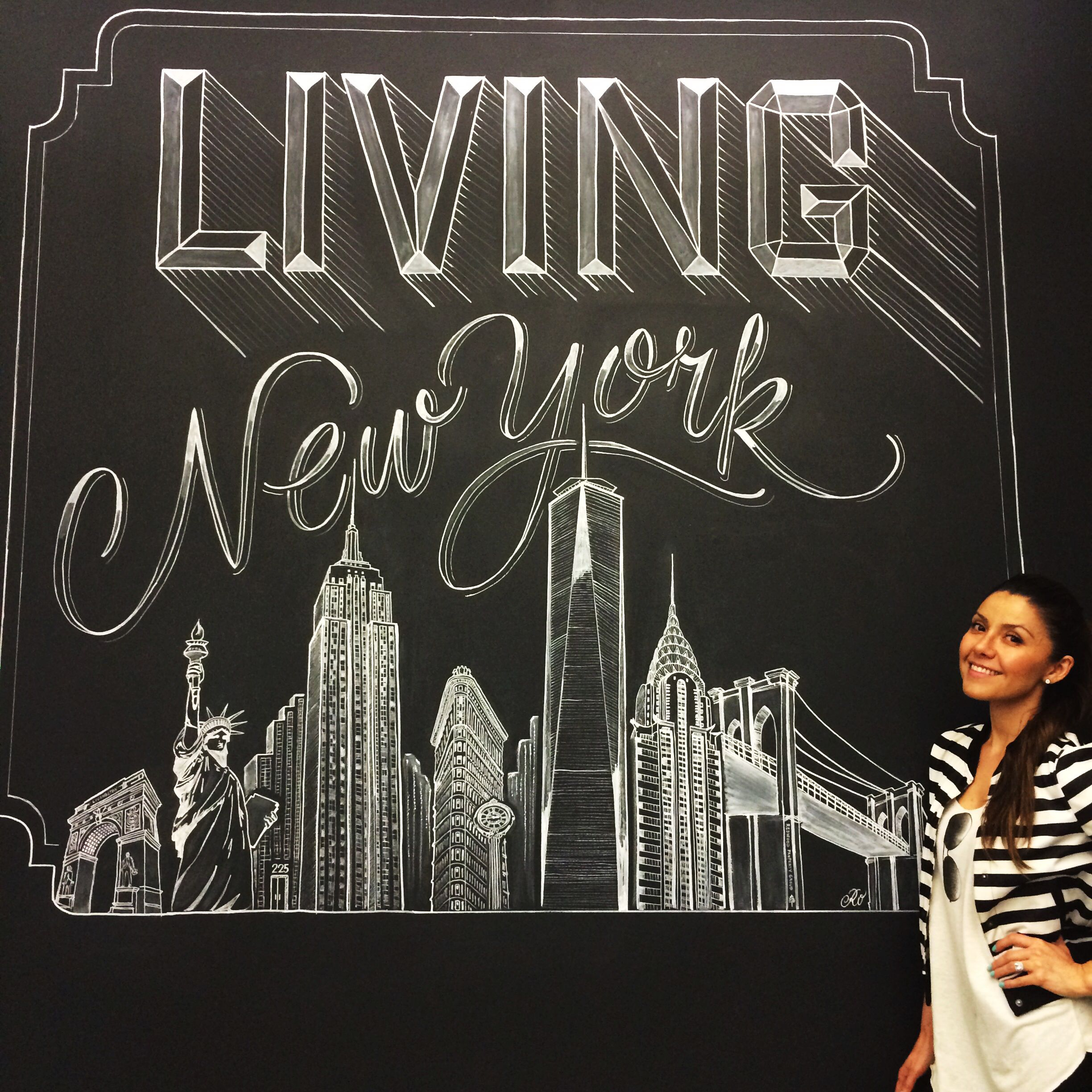 Chalk Art By Carolina Ro New York Skyline Carolinaro