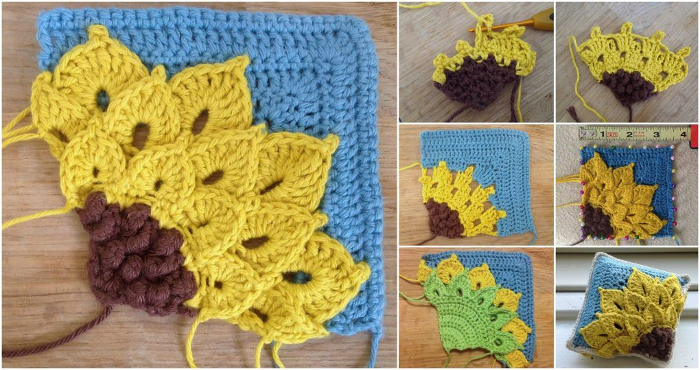 Crochet Quarter Sunflower Square | Crochet Motifs | Pinterest ...