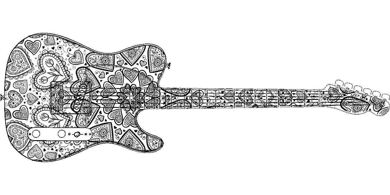 30 Guitar Coloring Pages | Free Coloring Page Site | Coloring ... | 640x1280