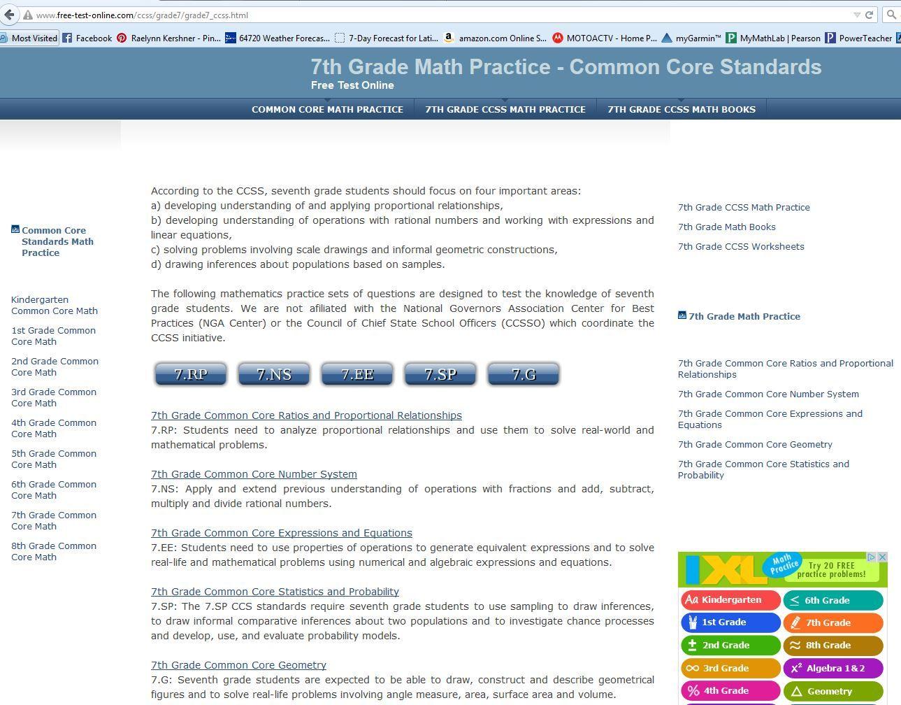 7th grade math common core math practice common core