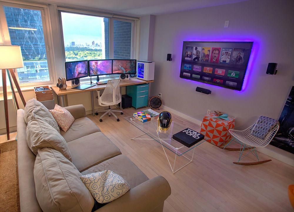 Really Like This Set Up For A Gaming Room Would Work Perfect With Two Tvs And Minimalist Computer Desk Modernhom Game Room Decor Game Room Design Room Setup #two #tv #living #room #setup