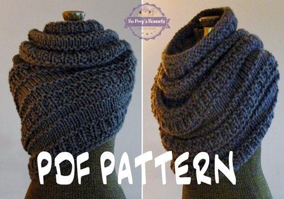 INSTANT DOWNLOAD Knitting PATTERN Huntress Cowl, Cowl Wrap Pattern ...