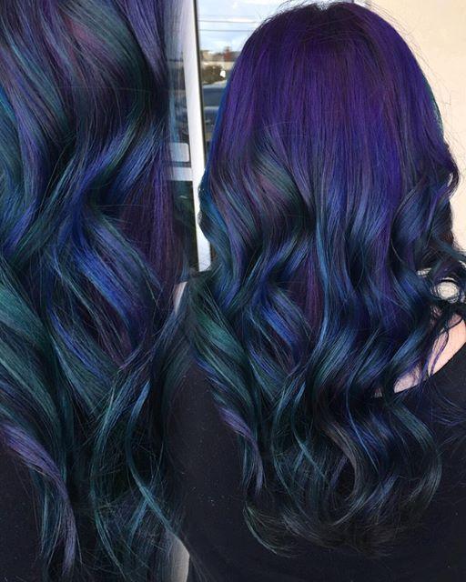 Instagram media by xmandyleex - Hey #startalkradio check out the Galaxy hair I gave @julianne_markow @salon202 #galaxyhair #northernlights #pravana #pravanavivids #dyeddollies #mermaidians @startalkradio #pulpriothair