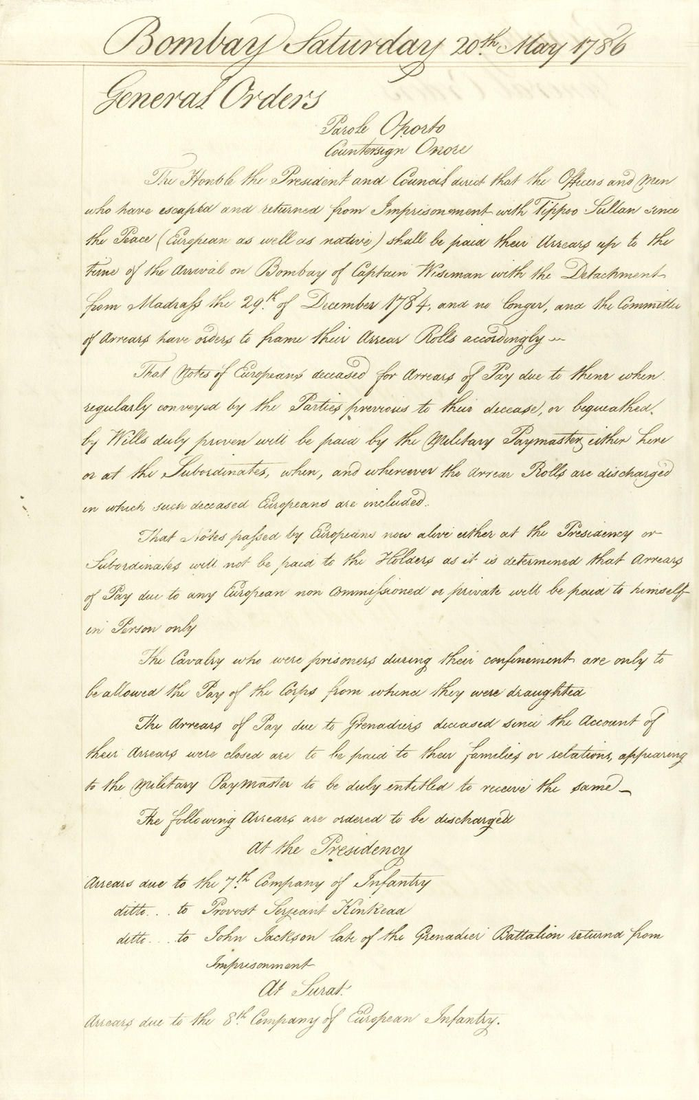 A Detailed Record Of The British Army In The Bombay Presidency Following The Treaty Of Mangalore Made With Tipu Sultan In Hyder Ali British Army Indian History