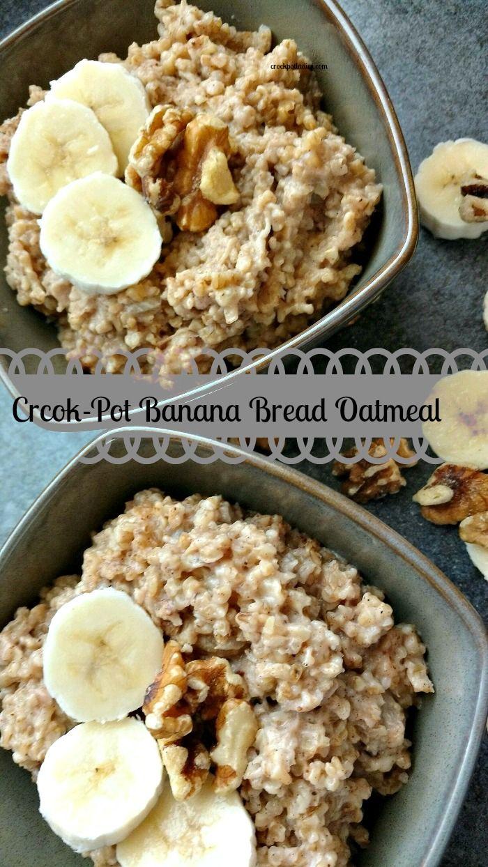 Crock-Pot Banana Bread Oatmeal - Warm up to a hearty and delicious bowl of hot Crock-Pot Banana Bread Oatmeal. The perfect breakfast for a cold morning! {via CrockPotLadies.com} #crockpot #slowcooker #recipes #breakfast #oatmeal