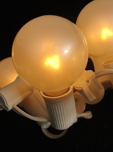 Pack of 10 Pearl White G50 Globe Replacement Christmas Light Bulbs