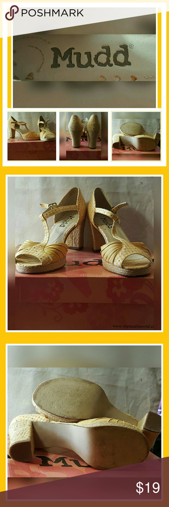 """MUDD CONCHA FABRIC T-STRAP PLATFORM MUDD CONCHA FABRIC T-STRAP PLATFORM  ●PRINTED FABRIC- YELLOW & WHITE PLAID WITH DELICATE DAISY FLOWER WITH RED CENTERS. ●SIZE 9M ●ROUND PEEP TOE ●3-1/2"""" CHUNKY RAFFIA HEEL;  PLATFORM 1/2"""" ●RUBBER SOLE ●IMPORTED Mudd Shoes Heels"""