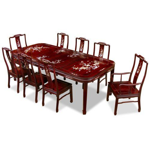 96in Rosewood Dining Table With 8 Chairs Mother Of Pearl Inlay