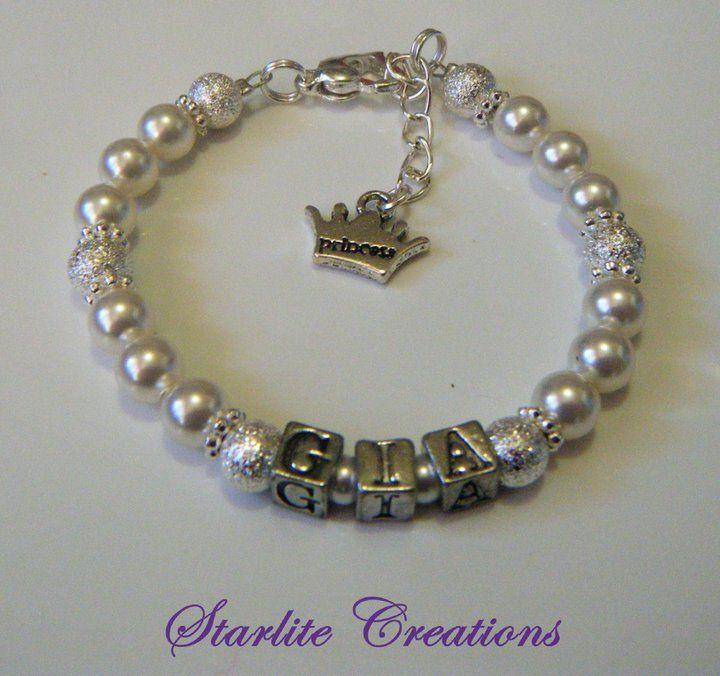 """GIA"" Name bracelet with Swarovski White Pearls and Silver Stardust Beads ""princess"" Charm dangle"