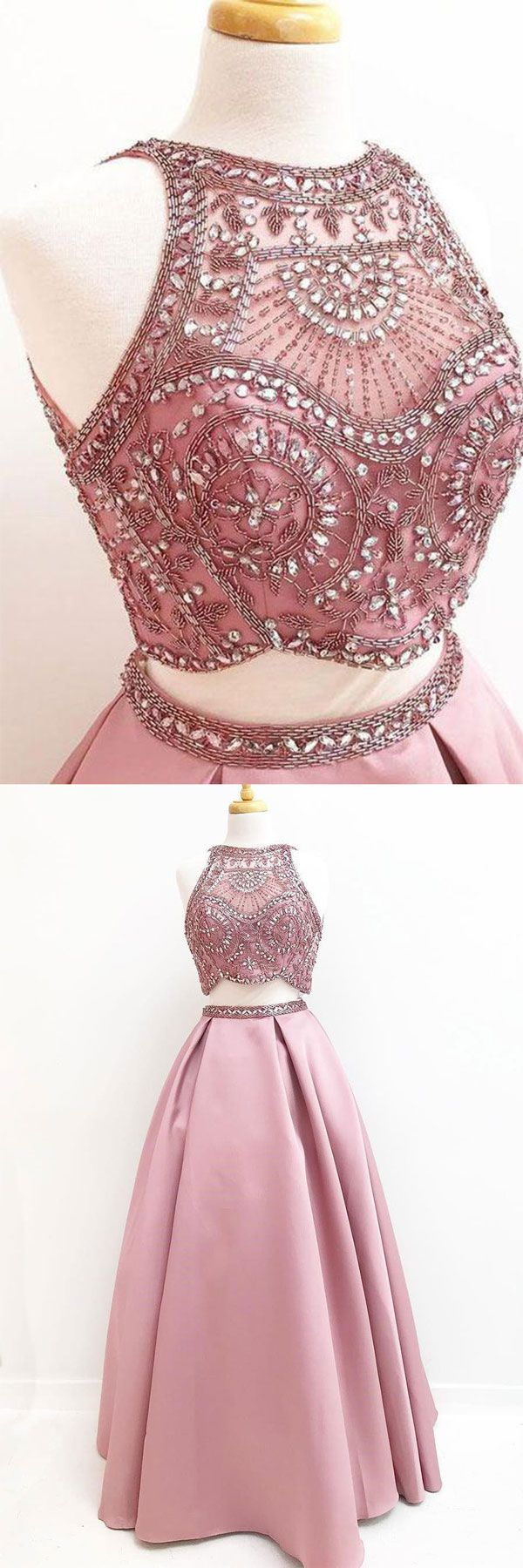 Pink two pieces beads satin long prom dress, pink evening dress ...