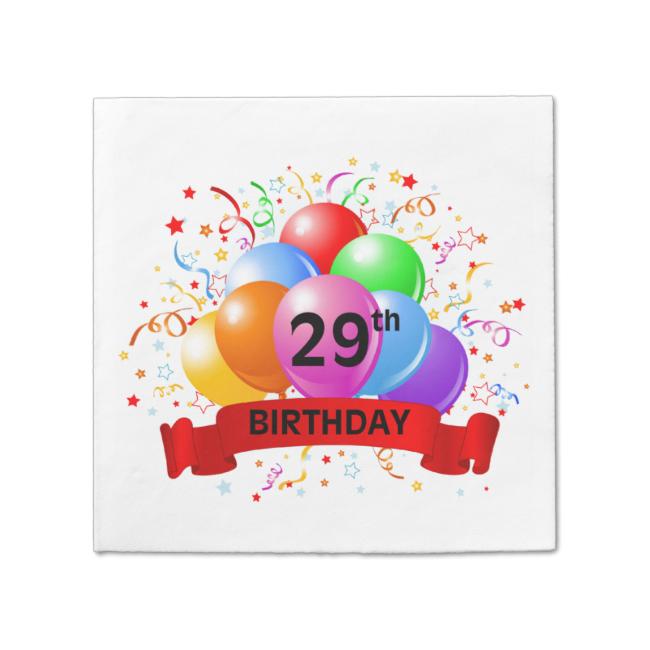 29th Birthday Banner Balloons Standard Cocktail Napkin Birthdayread More