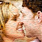 A photo of a couple turned into a puzzle