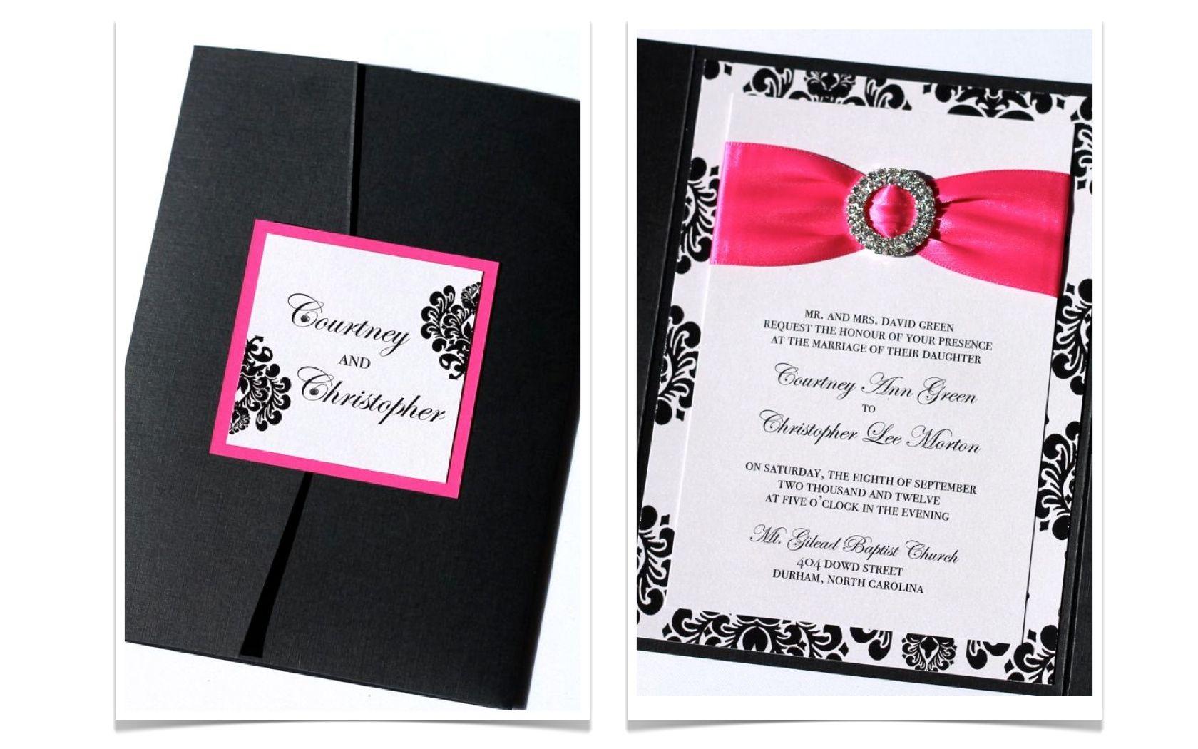 The Courtney Pocket fold Wedding Invitation Set - Black and White ...