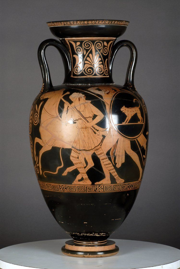 Red Figured Neck Amphora Side A Achilles And Penthesilea S He