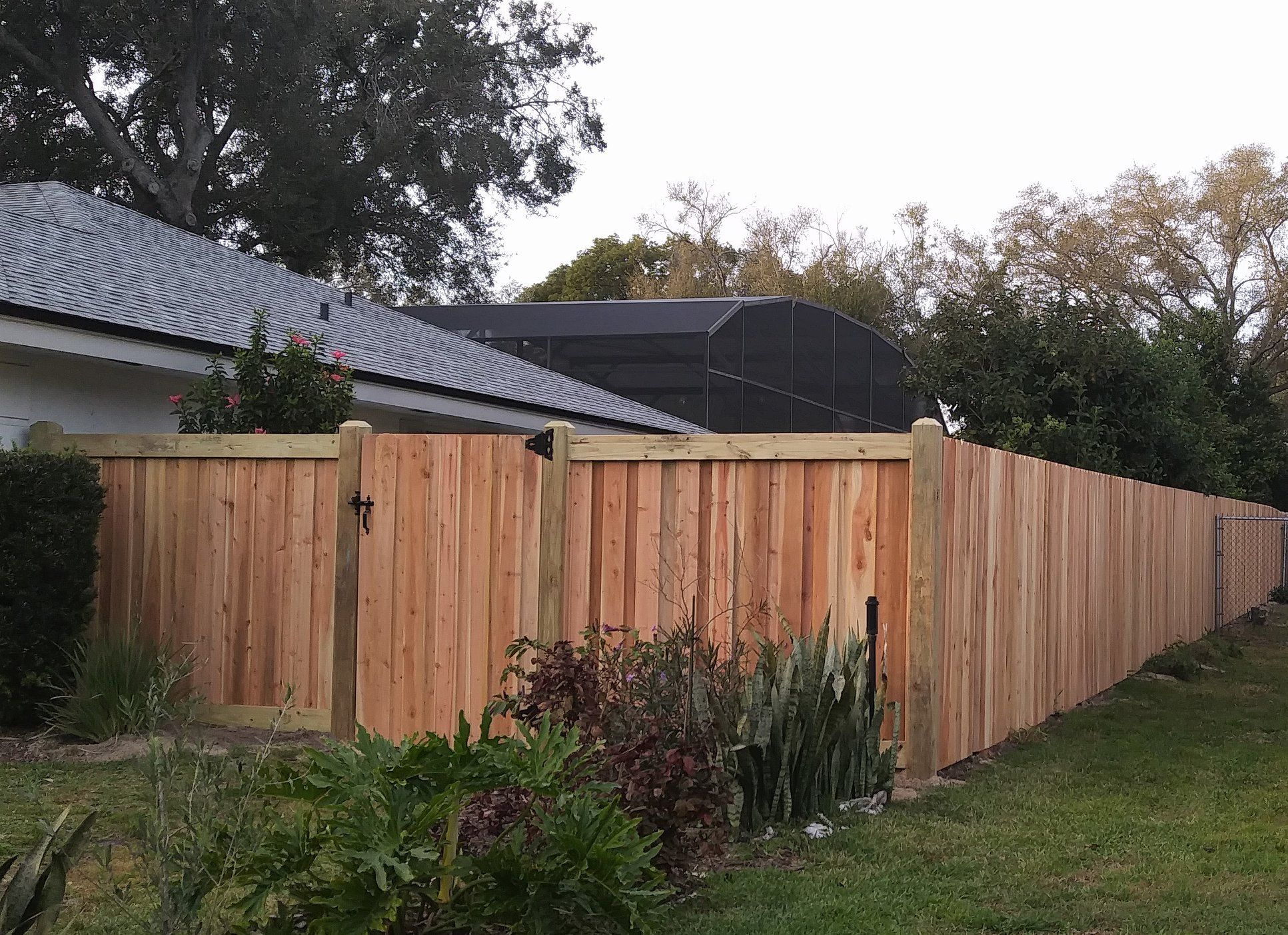 Stick Built Cedar Wood Fence Mossy Fence Company When Searching For A Fence Installer Be Sure To Ask If Thei Backyard Fences Wood Fence Design Fence Design