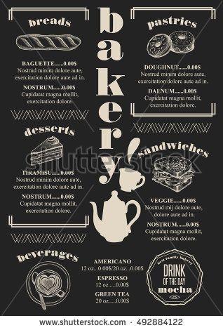bakery coffee menu placemat food restaurant brochure cafe template