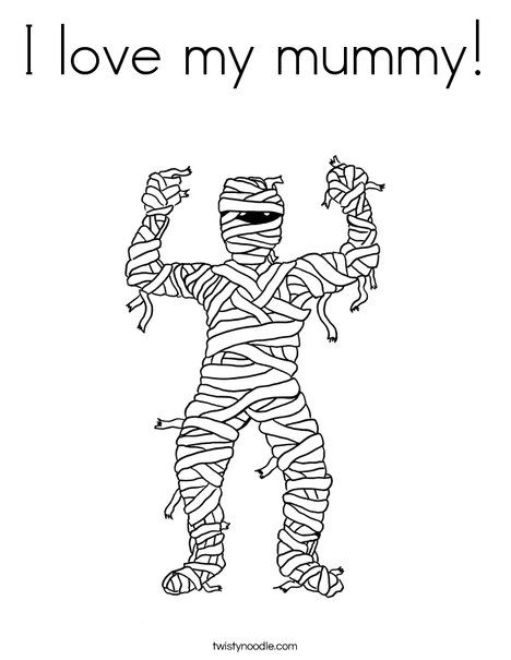 Mummy Coloring Page From Twistynoodle Com Halloween Coloring Pages