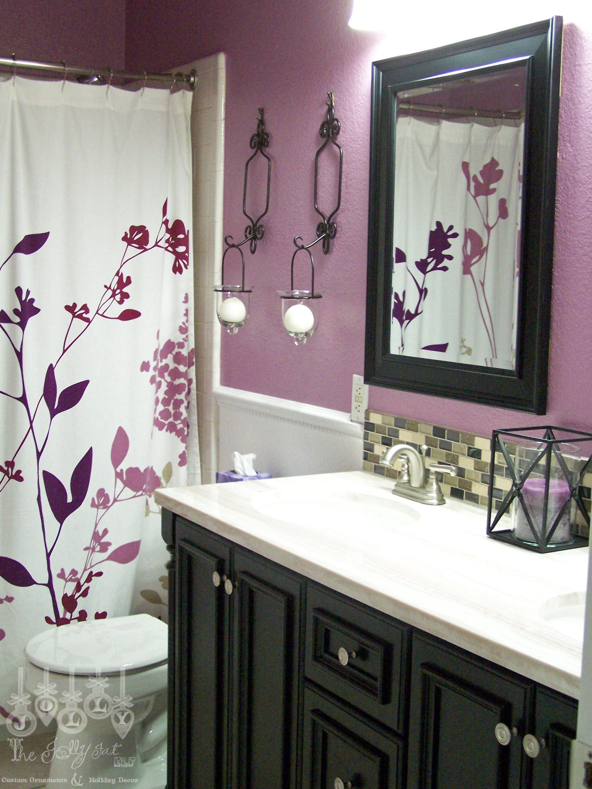 For Second Bathroom Purple And Black Maybe A Black Shower Curtain