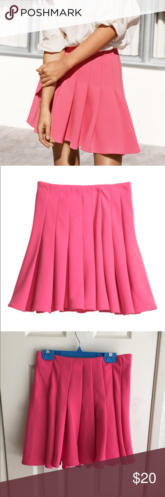 H&M pink pleated skater skirt (With images) | Skirts ...