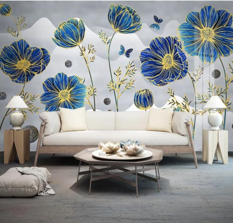 Customize Product in 2020   Blue flower wallpaper, Wall ...