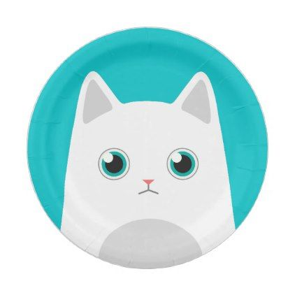 sc 1 st  Pinterest & White Cat Illustration Paper Plate