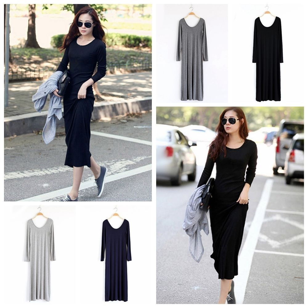 Womenus cotton round neck long sleeve casual loose bodycon maxi
