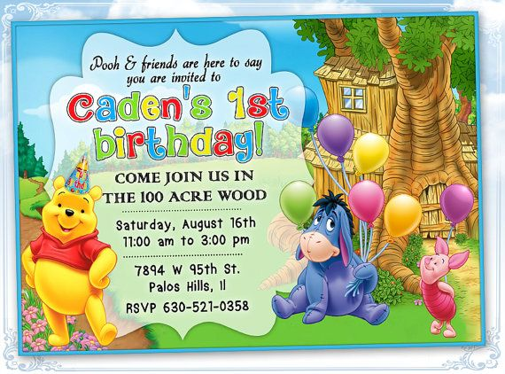 Winnie The Pooh Invitation Birthday Card By Frezeartparties 1st
