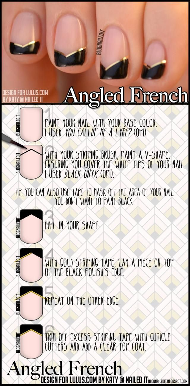 DIY Angled French Manicure DIY Nails Art | Beauty | Pinterest ...