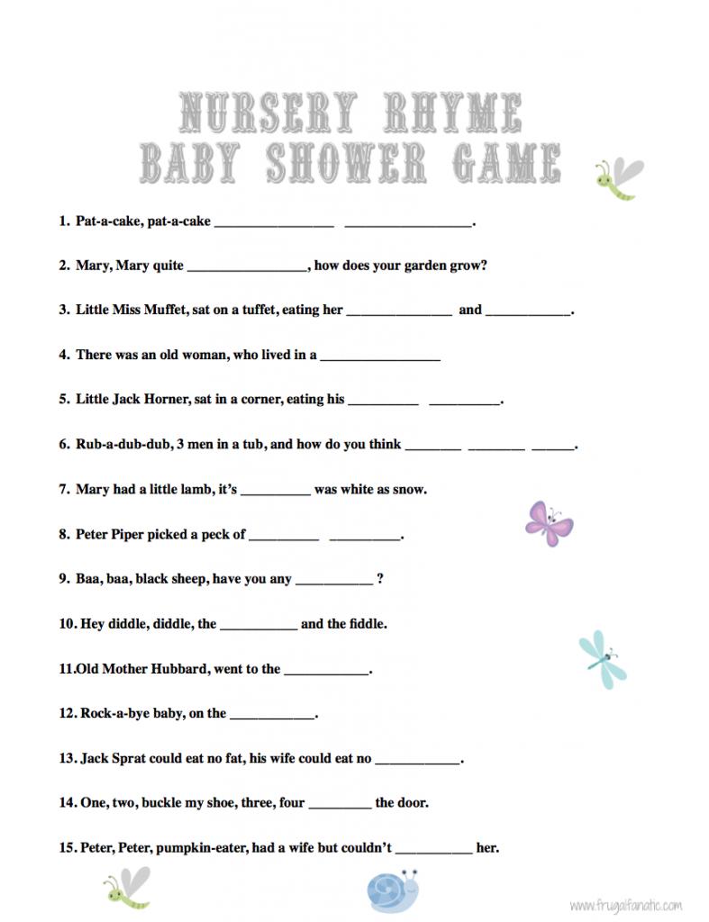 rhyme free nursery rhymes baby born baby shower games baby shower