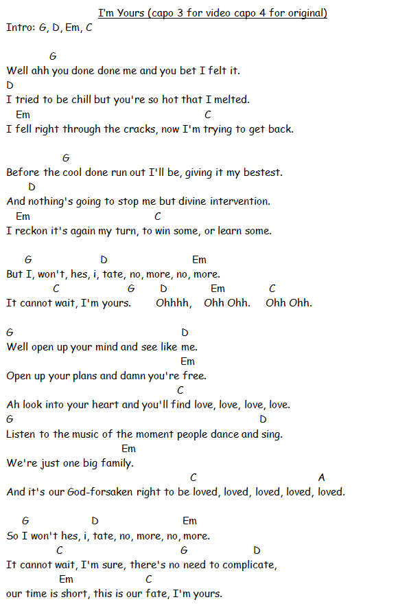 I\'m Yours - Jason Mraz. guitar chords. | ukelele makes me happy ...