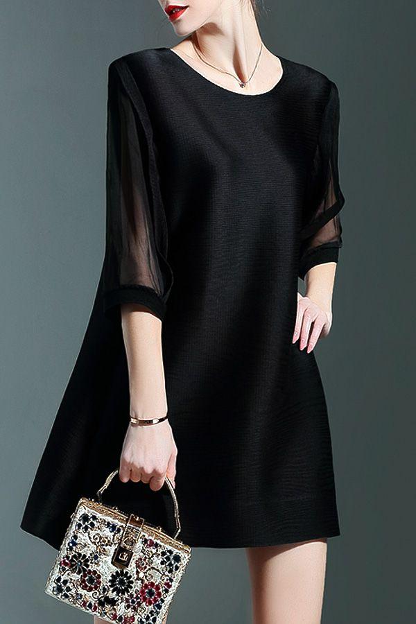 Chiffon Spliced Black Mini Dress