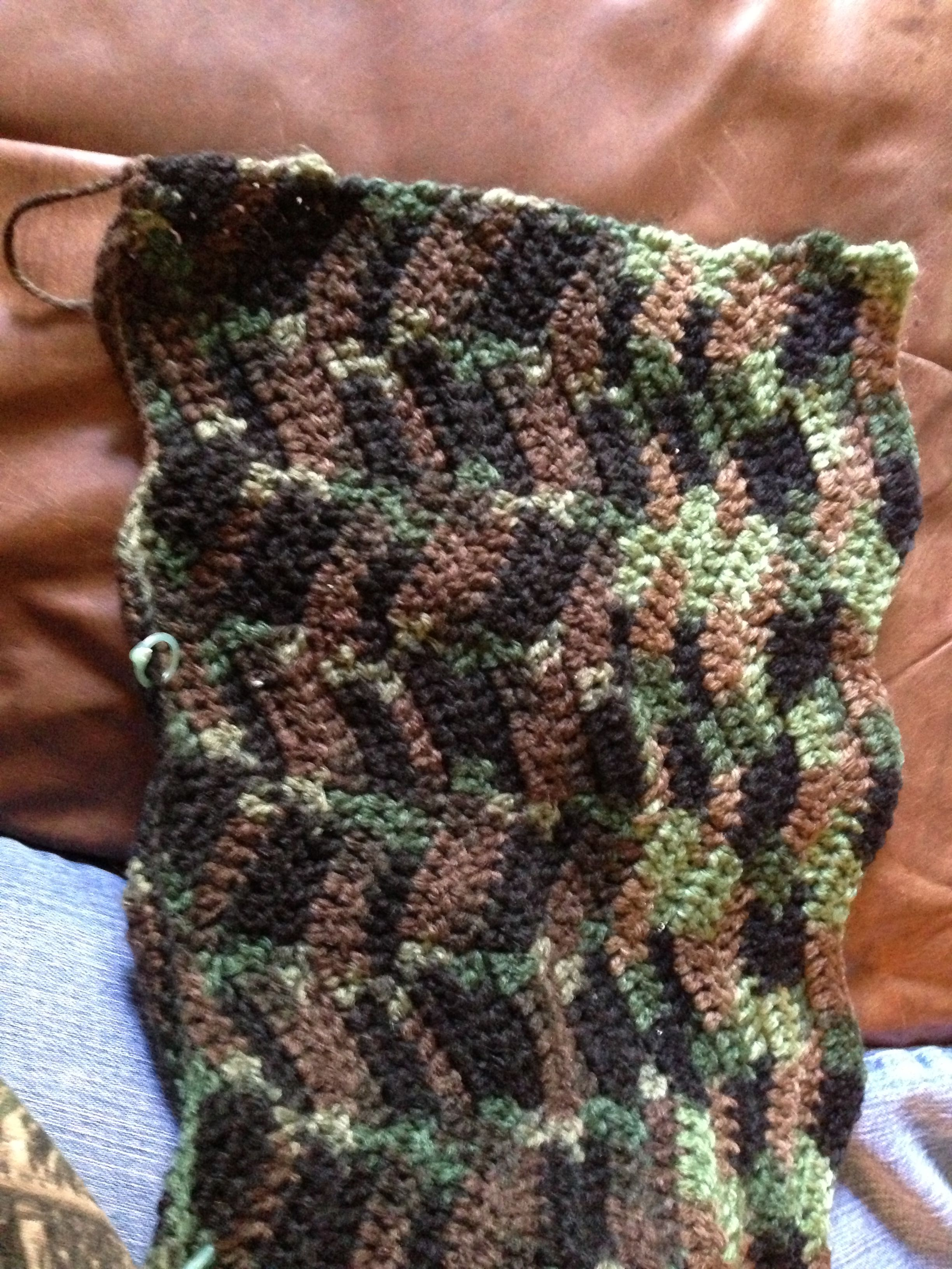 Camo Afghan For My Grandson Using Bernat Camo Yarn