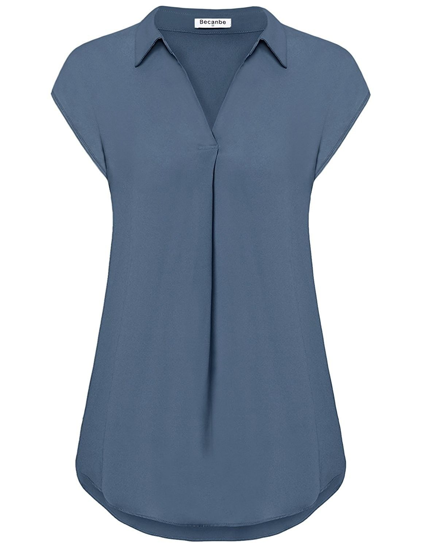 MOQIVGI Womens Chiffon Blouses Casual Sleeveless V Neck Button Down Shirts
