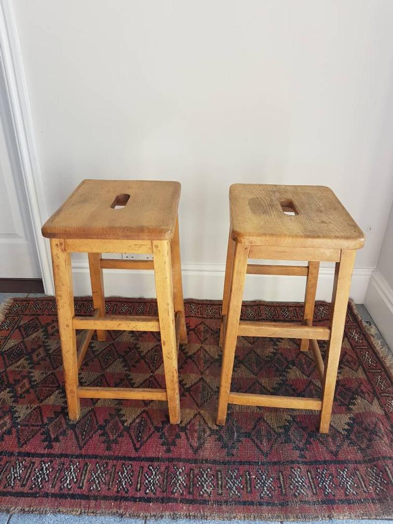 Vintage Lab Stools Tall Beech Wood School Laboratory Stools Etsy