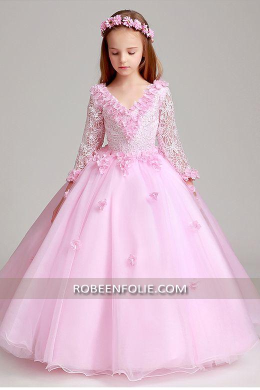 13f941907e9 Robe de soirée longue en tulle et dentelle de couleur rose avec manches  longue…  robe soirée enfant  robe soirée fille