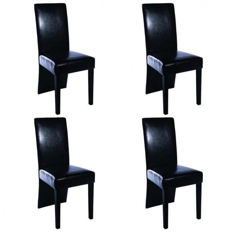 Dining Table Chairs Set Of 4 Faux Leather Black Upholstered Seats