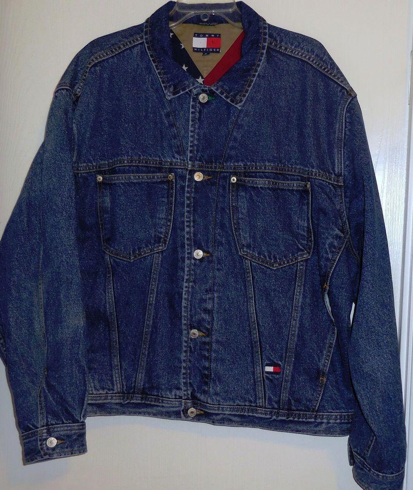 Tommy Hilfiger Jeans Vintage American Flag Lined Denim Jacket Signature  Tommy XL  TommyHilfiger  JeanJacket ca629e3aa5