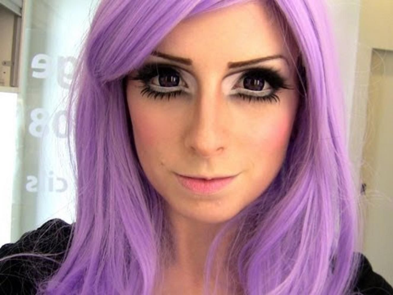 Cool purple hair and halloween makeup fun. Anime makeup