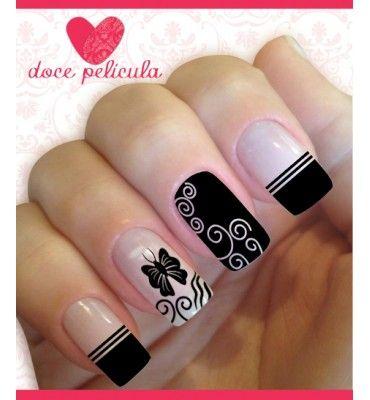 Peliculas Ou Adesivos De Unhas Modelo Borboleta Preta Neat Nails