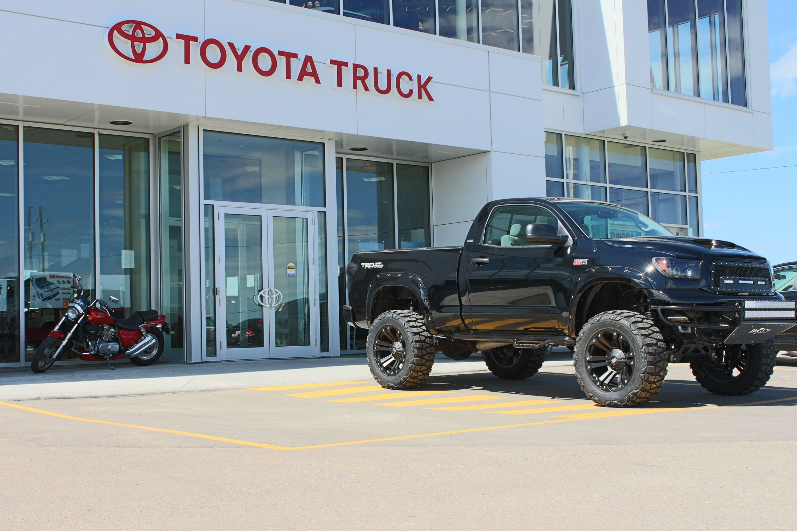 Tire and wheel package with a lift on this toyota tundra visit us in north calgary for more toyota trucks parts and accessories