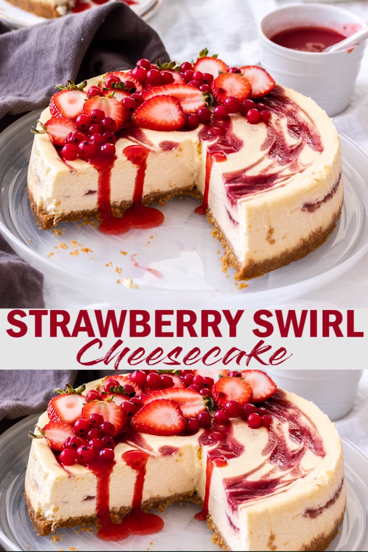 Strawberry Swirl Cheesecake #redvelvetcheesecake