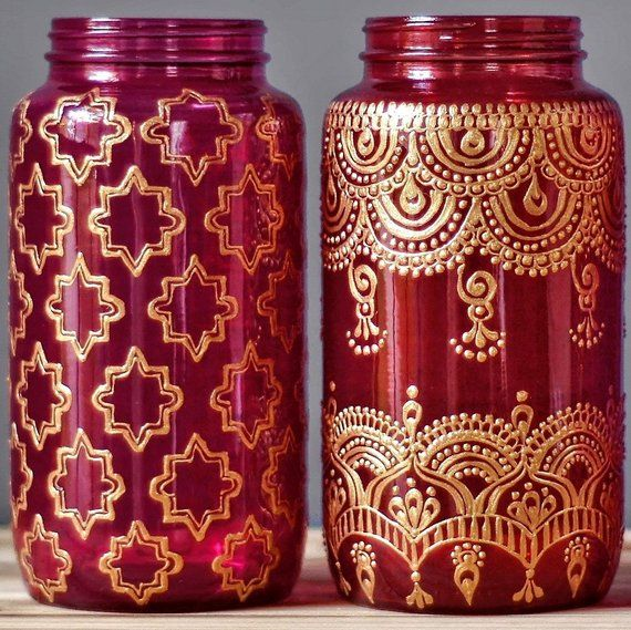 Boho Wedding Decor Henna Wedding Centerpiece Mason Jar Centerpieces