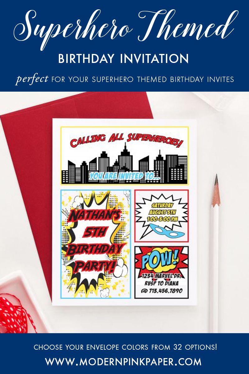 Super Hero Birthday Invitations, Comic Book Birthday Party ...