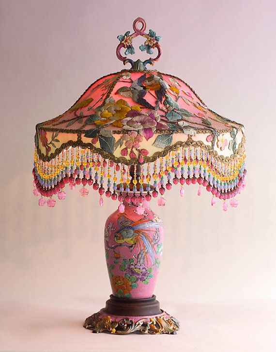 Pink Chinoiserie Garden Silk Victorian Lampshade Lamp And