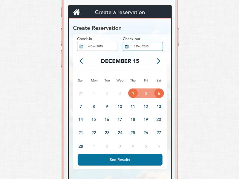 Create Reservation Date Picker Mobile ui - reservation forms in pdf