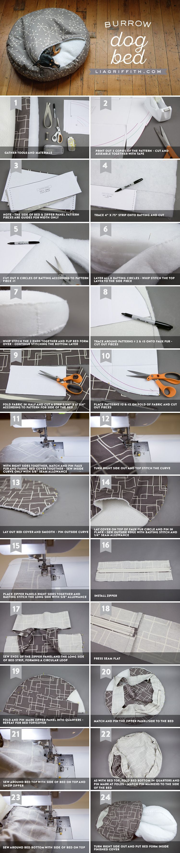 How to Make a DIY Burrow Dog Bed Dog bed, Diy cat bed