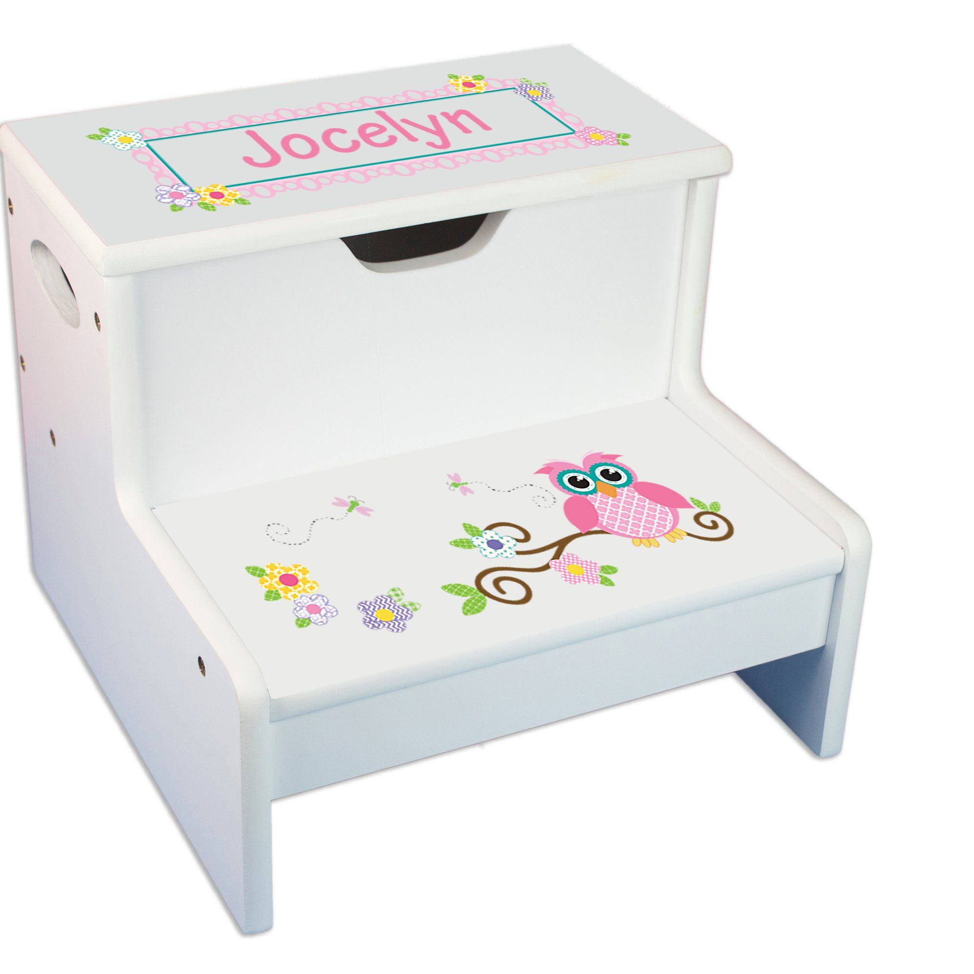 Personalized Pink Owl White Childrens Step Stool With Storage