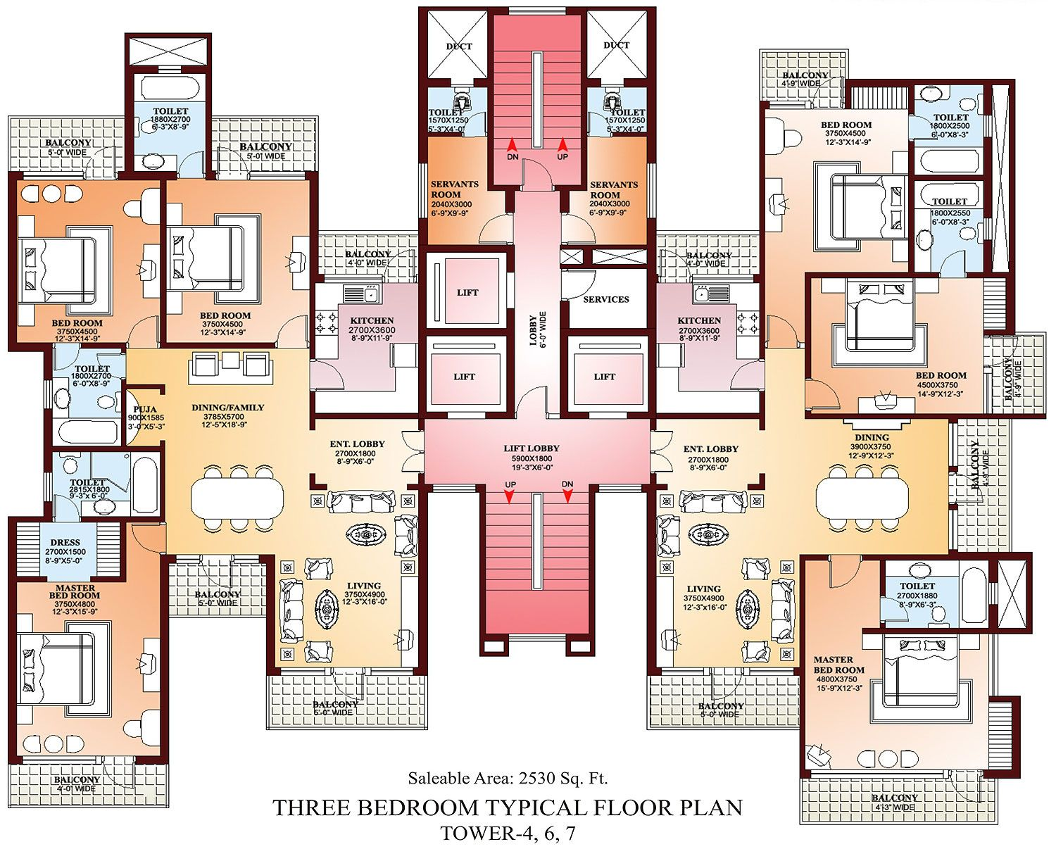 Parsvnath la tropicana floor 2 bedroom apartment design