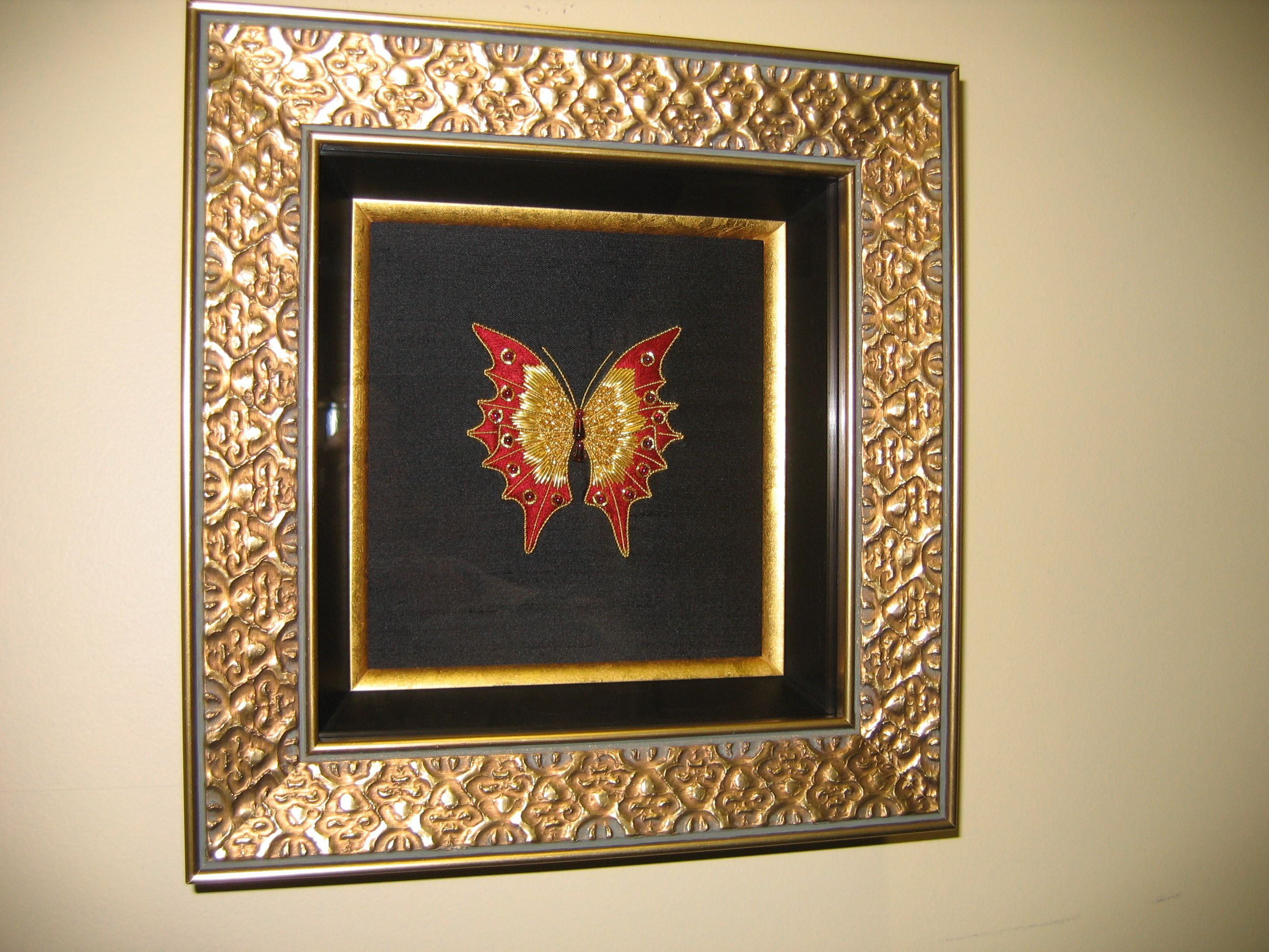 Silk embroidery framing design and custom framing by Framing to a T.