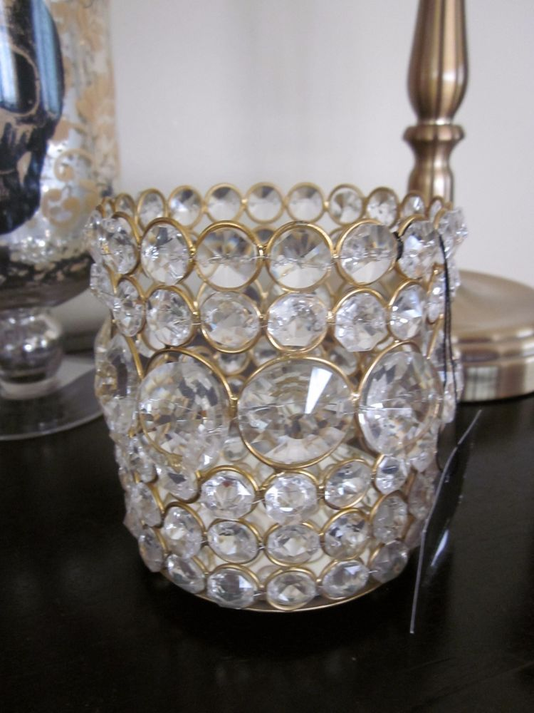 High Quality NICOLE MILLER HOME GOLD CRYSTAL JEWELED MIRROR CANDLE PILLAR VOTIVE HOLDERS  2